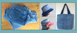 The Hats & Bags summer 2016 repurposed denim art project