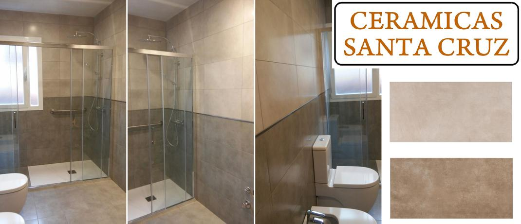 Azulejos Baños Dos Colores: azulejos de gres porcelánico y cambio de bañera por plato de ducha