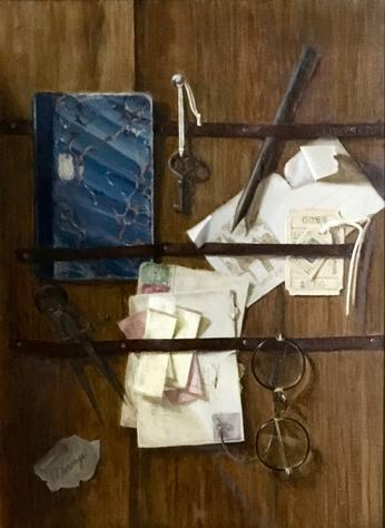trompe l'oeil painting of papers and glasses