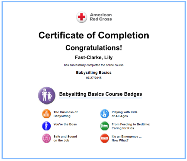 Red Cross Certification
