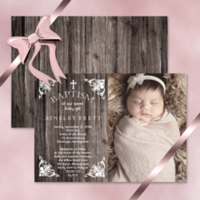 rustic faux wood with vintage cross baby girl photo baptism invitations