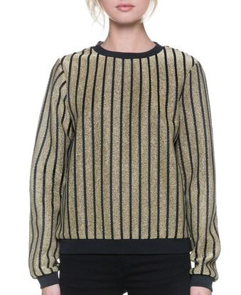 Gold Black Metallic Knit Sweater