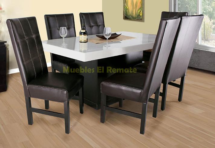 Mesa en marmol procesado para 6 personas en monterrey for Precios de comedores modernos