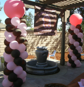 BROWN AND PINK BALLOON COLUMNS