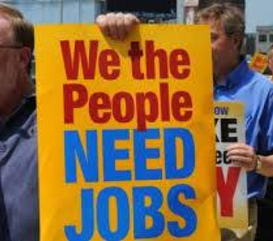 We Need Jobs signs unemployeed people