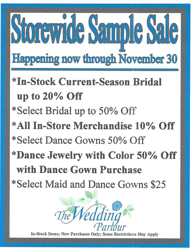 Store wide sample sale now through November 30 at The Wedding Parlour