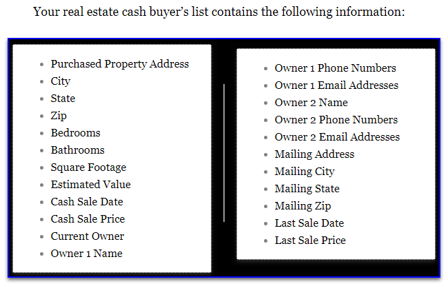 sample real estate cash buyer s list real estate cash buyer s list