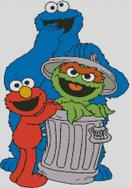 Cross Stitch Pattern Chart of Muppets Grouch Elmo and Cookie Monster