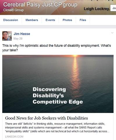 "Facebook Posting: ""Discovering Disability's Competitive Edge"""