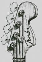 Cross Stich Chart Pattern of Fender Precision Bass Headstock