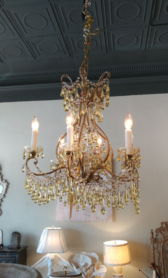 Antique French Citroen Chandelier Crystal 5 arm for sale at the House of Tuscany, in Fort Worth, Texas