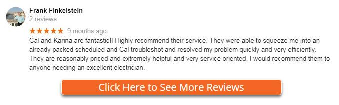 Recent Reviews for electrician near me in Satellite Beach, Indian Harbour, Indiatlantic, Melbourne Beach, and Melbourne Florida.