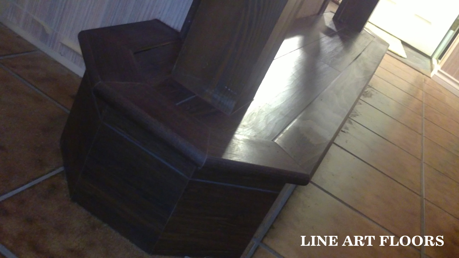 Line Art Floors : Stair with double open round edge