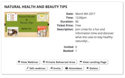 Join Linda's Health and Beauty Tips Webinar