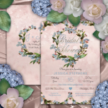 Pink distressed watercolor background, vintage forget me not floral wreath two-sided bridal shower invitations
