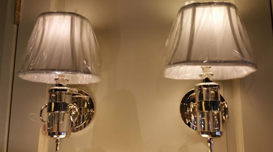pair of new wall mount electric sconces fixtures in chrome nickel lucite with silk white shades e