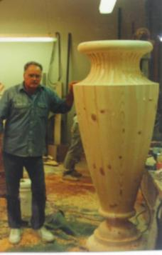 custom wood turned large pedestal