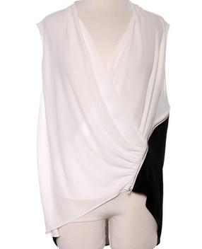 Black White Drape Top