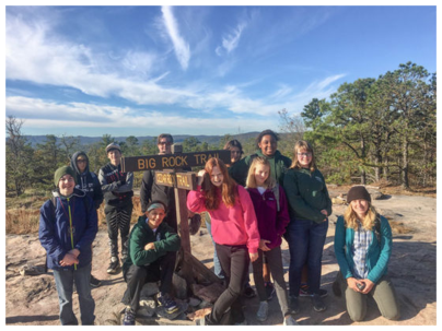 Middle School Students Hiking