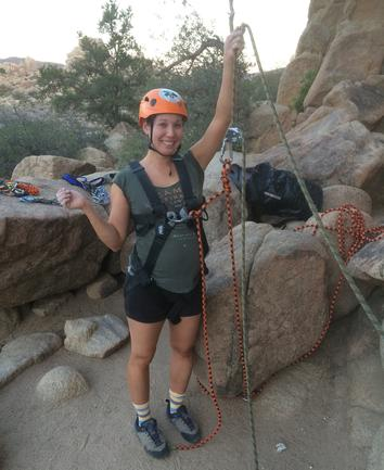 belaying for rock climbing while pregnant in Joshua Tree National Park