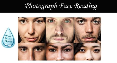 "Photo collage of 6 human faces with the caption ""Photograph Face Reading"" and the water droplet logo of Water Medium Synergy."