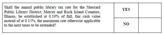 Shall the annual public library tax rate for the Sherrard Public Library District, Mercer and Rock Island Counties, Illinois, be established at 0.19% of full, fair cash value instead of at 0.15%, the maximum rate otherwise applicable to the next taxes to be extended?