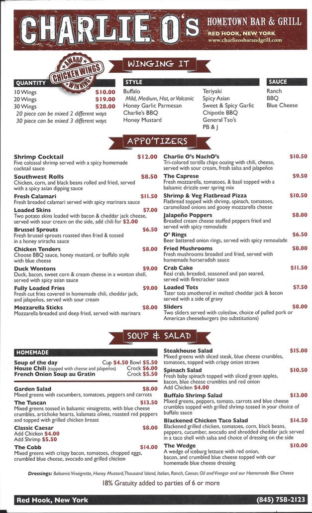 Charlie O's Bar And Grill in Red Hook, Ny : Menu