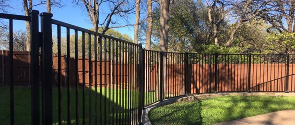 Wrought Iron Fence with Cedar Pickets for Privacy