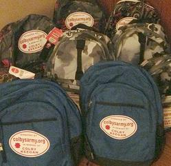 Colby's Army photo of backpacks for the homeless