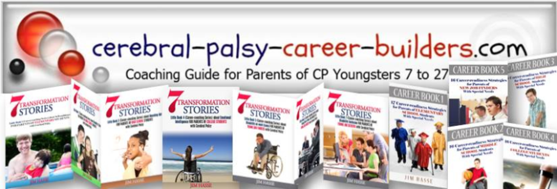 Photo montage showing cerebral-palsy-career-builders.com logo and Jim Hasse's 12 book covers.