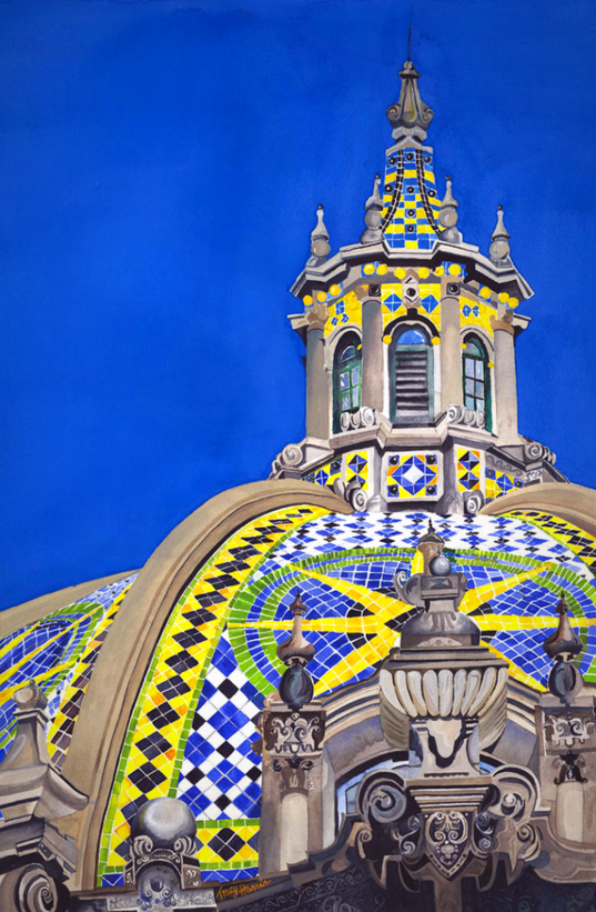 California Building Balboa Park, Artist Tracy Harris, Watercolor, Limited Edition Giclee