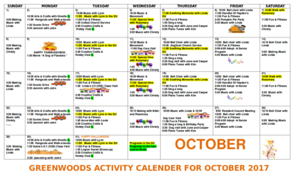 Greenwoods Calendar of Activities for October 2017