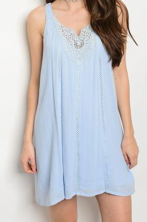 Blue Lace Crochet Dress