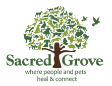 Sacred Grove logo-where people and pets heal and connect