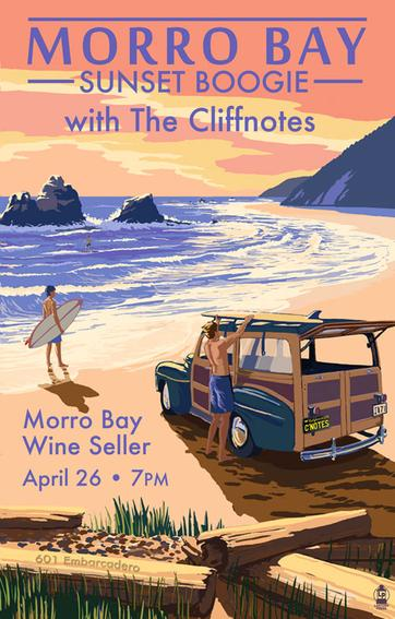 poster art for Music in the Meadow at Stolo Winery in Cambria with The Cliffnotes