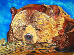 Grizzly Bear, Silk Painting, Grizzly Bear, Tracy Harris Artist, 36 x 48