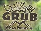 fork heart and shovel logo with word GRUB in the middle