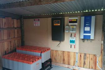 Battery bank, inverter and main electrical panel