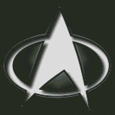 Cross Stitch Chart Pattern of Star Trek Logo in Black and White