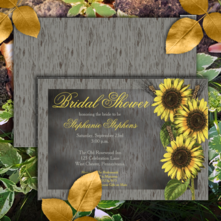 Rustic faux wood and vintage sunflowers two-sided bridal shower invitations