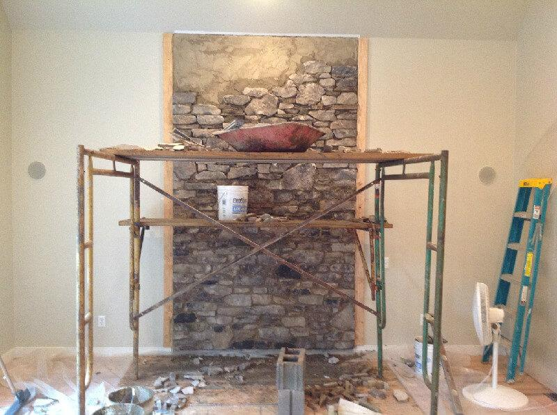 Wood Stove Stone Wall