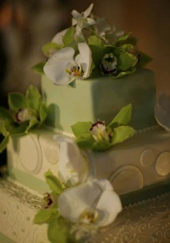Wedding, Square, Cake, Orchids, Floral, Circles, decor, victorian