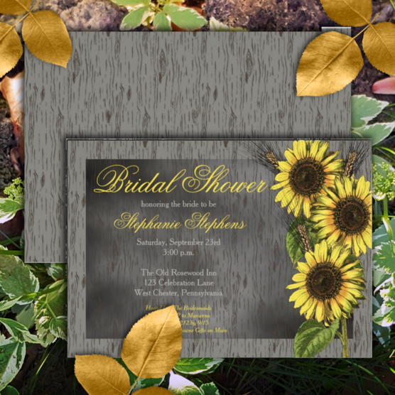 Rustic faux wood and vintage sunflowers bridal shower two-sided invitations