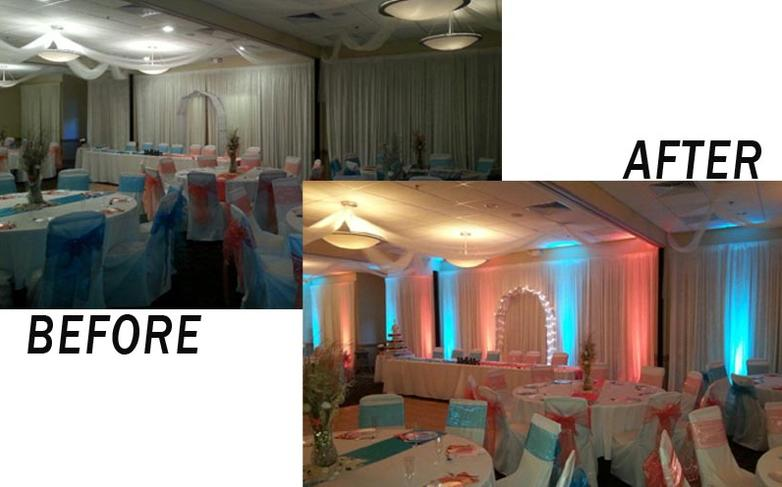 Add beautiful color to your event with up lighting.