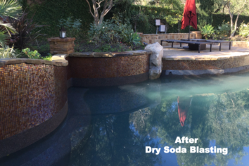 Glass Pool Tile Cleaning soda blasting