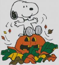 Cross Stitch Chart of Snoopy at Halloween