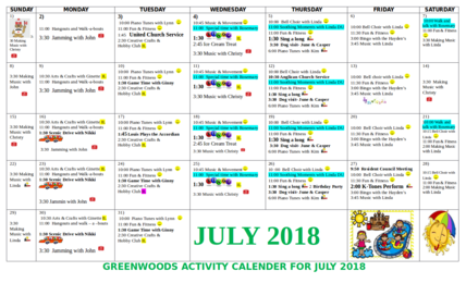 Greenwoods Calendar of Activities for July 2018