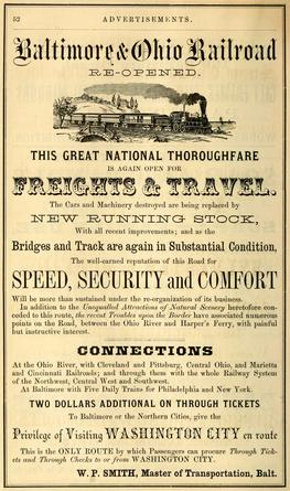 Advertisement for the Baltimore & Ohio Railroad from 1864.