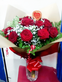 Deluxe Dozen Red Naomi Roses Bouquet | The Little Flower shop Florist