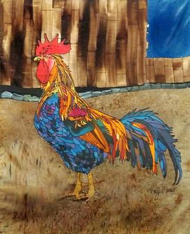 Rooster Silk Painting, Tracy Harris Artist, Salt Effect, Liited Edition Giclee